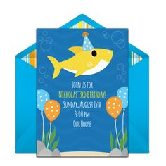 How adorable is this Baby Shark themed online invitation? It's the perfect invite to set the scene for a shark themed birthday. Personalize and send via text or email. Summer Party Decorations, Online Invitations, 3rd Birthday, Birthday Ideas, Baby Shark, Summer Parties, Activity Games, Birthday Party Invitations, How To Memorize Things