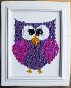 Button Art Animal Owl Purple Canvas Panel by HydeParkHome Owl Crafts, Crafts To Do, Crafts For Kids, Arts And Crafts, Button Art, Button Crafts, Button Canvas, Purple Canvas, Button Picture