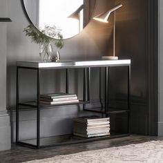 Plush Black Console Table Creat a focal point with this stylish yet practical designer console table, featuring a bevelled mirror top and tempered mirrored shelves set into a modern, matt black metal frame. Table Furniture, Home Furniture, Furniture Sets, Outdoor Furniture, Furniture Outlet, Rustic Furniture, Hudson Furniture, Furniture Buyers, Furniture Showroom