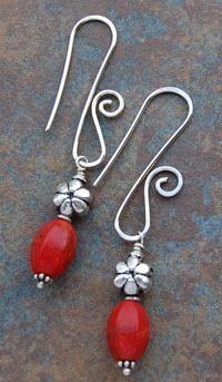 I love way the earwire curves Sterling Silver-Coral Earrings $20