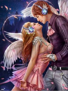 Show dance posters by Wanling Li fantasy, angel, girl by… Fantasy Love, Fantasy Art, Fantasy Images, Fantasy Couples, Digital Art Gallery, Show Dance, Fantasy Paintings, Poster Pictures, Couple Art