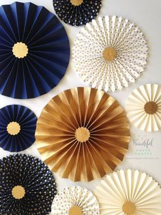 Navy and Gold Wedding Decor Navy and Gold Wedding Backdrop Birthday Room Decorations, Gold Wedding Decorations, Graduation Decorations, New Years Decorations, Baby Shower Decorations, Gold Paper, Diy Paper, Paper Crafts, Dolphin Birthday Parties