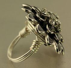 Large handmade black enamel silver edge by JeanneSusanneDesign
