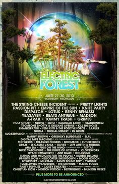 2013 Electric Forest lineup. This summer!