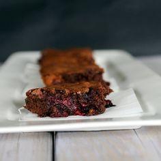 Roasted blackberry brownies - fudgy, chocolate brownies studded with roasted blackberries.