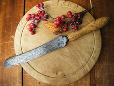Antique English Bread Knife Carved  Maple Handle by exploremag, $59.00