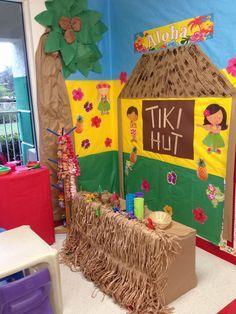 Luau dramatic play or reading area . Dramatic Play Themes, Dramatic Play Area, Dramatic Play Centers, Luau Theme, Hawaiian Theme, Hawaiian Crafts, Hawaiian Luau, Preschool Art, Preschool Activities