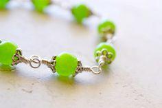 Green Jade Bracelet, Sterling Silver, Wire Wrapped, Jade Gemstone Jewelry, Granny Smith Apple