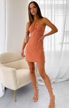 Life is Good Halter Mini Dress Rust – Beginning Boutique US Halter Mini Dress, Girl Gang, Our Girl, Fabric Swatches, Life Is Good, Rust, Outfit, Boutique, Summer