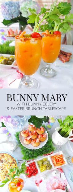 Easter Brunch recipe for a Bunny Mary, that is a bloody mary made with carrot juice & garnished with a celery bunny. Plus a look at my Easter Brunch tablescape with H-E-B that includes bunny muffins. // www.elletalk.com #ad #HEB