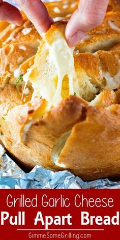 Grilled Cheesy Garlic Pull Apart Bread Toasty Crunchy Sourdough Bread Loaded with Melted Cheese Butter and Garlic! This is the Perfect Side Dish to Grill. So Easy and So Delicious! You Can Also Make it in Your Oven! via Gimme Some Grilling Easy Bread Recipes, Dip Recipes, Grilling Recipes, Appetizer Recipes, Cooking Recipes, Grilling Tips, Traeger Recipes, Quick Appetizers, Tailgating Recipes