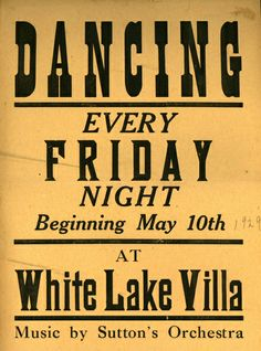 White Lake Villa dance poster