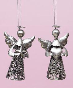 Look what I found on #zulily! Silver Angel Ornament Set #zulilyfinds