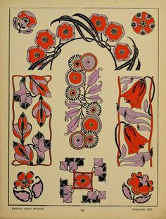 One of hundreds of thousands of free digital items from The New York Public Library. Art Nouveau Illustration, Botanical Illustration, Art Nouveau Design, Design Art, Jugendstil Design, Guache, Motif Floral, Grafik Design, William Morris