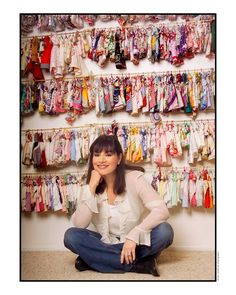 """A note from Truthful Tara, 18"""" doll:  Here's a photo of my """"Mom"""" Marsha Greenberg!  Look at all the Barbie-size dresses she created from vintage hankies.  In her newest book, I model the dresses she made just for ME!  ♡♡♡  P.S.  I am much taller than Barbie!"""