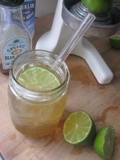From New Nostalgia. Fresh Lime Soda w/ a pinch of salt.  So refreshing, much healthier than regular soda, and with the bit of salt is reminiscent of a margarita! #lime #limesoda #soda #limeade #health