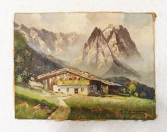 Original Oil on Canvas by E. Huther (German) Scene of village at the base of Alps.