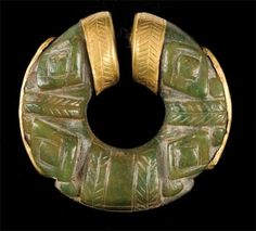 Nose ring, gold and jade, ca.700-1000CE from Gran Coclé, a pre-Columbian Central American area that coincides with the modern-day Panamanian province of Coclé