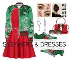 """""""Sporty Girlish Looks with Gucci #Sneakersanddresses"""" by bluemoon019 on Polyvore featuring Gucci, Chi Chi, Versace and BERRICLE"""