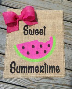Watermelon Burlap Garden Flag Summer Garden by ModernButterfly