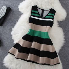 Fashion Stripe Sleeveless V-Neck Dress HJ1LJ