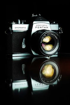 Pentax Spotmatic..MY FIRST SLR CAMERA.  I STILL HAVE IT AND IT'S BULLETPROOF.  THE METER STILL WORKS WELL...