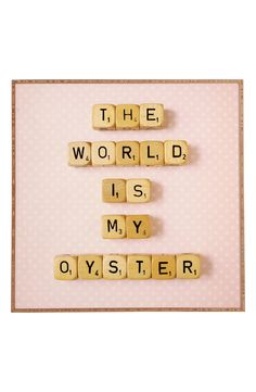 The board-game lettering of this wall art is too cute.