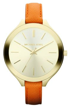 Michael Kors 'Slim Runway' Leather Strap Watch | Newest gift last weekend...from me to me :)