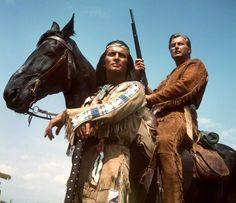 Winnetou (Pierre Brice, L), Chief of the Apache Indians, and his white friend Old Shatterhand (Lex Barker) are the heroes of the films based on the German western novels by Karl May, here pictured in a movie scene from Im Tal des Todes (In the death valley), 1968.