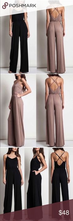 MIKESA Softest Jumper  - MOCHA Super soft and stretchy criss cross back jumper.  AVAILABLE IN MOCHA & BLACK  NO TRADE, PRICE FIRM Bellanblue Pants Jumpsuits & Rompers