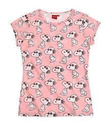 Damen T-Shirt rosa Snoopy allover Lizenzartikel Gr. XS Gr. 158/164