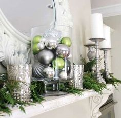 Christmas Mantel Decoration Ideas - Minimalist Mantel - Click Pic for DIY Christmas Decorations and Ornaments | Fireplace Decorations