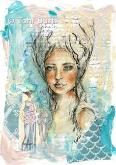 """""""Genevieve"""" mixed media, acrylic and markers.  Mixed media girl on paper with vintage papers in background and Marie Antoinette hairdo!"""