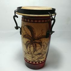 South American Drum Animal Skin Wood Musical Instrutment In Fair Condition