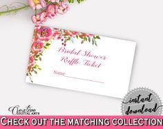 Raffle Ticket Bridal Shower Raffle Ticket Spring Flowers Bridal Shower Raffle Ticket Bridal Shower Spring Flowers Raffle Ticket Pink UY5IG - Digital Product bridal shower wedding bride to be bridesmaids