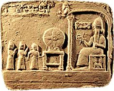 Sumerian Tablet depicting the Wheel (Uttu Shamash) of (Creation) of Those Things Not As Gods. The God Supa holding a high ranking god's symbol of the Rod & Iron.