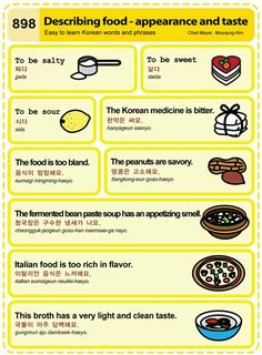 898 Learn Korean Hangul: Describing Food - Appearance and taste Half Korean, How To Speak Korean, Learn Korean, Korean Words Learning, Korean Language Learning, Learn Hangul, Korean Phrases, Korean Quotes, Korean Alphabet