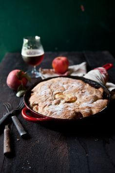 Hard Apple Cider Skillet Cobbler. SO easy and so delicious. Perfect for a party! #apples #skillet #cobbler #cider #recipe