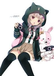 Cute girl in a black neko hoodie with a white and pink bunny! I wish I had that hoodie too....