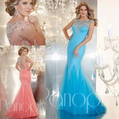 Fashion 2014 Sheer Crew Neckline Long Evening Party Dress Beaded Tulle Floor Length Mermaid Illusion Backless Sexy Prom Dresses Gowns New Online with $140.74/Piece on Weddingdressesonline's Store | DHgate.com