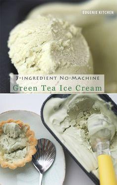 3-Ingredient Green Tea Ice Cream with No Machine No Churn Eggless Recipe