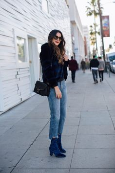 Blue Velvet Crush | Thrifts and Threads. Black top+cripped denim+blue velvet sock boots+blue and black fur coat+black chain shoulder bag with golden details+sunglasses. Winter Everyday Outfit 2016-17