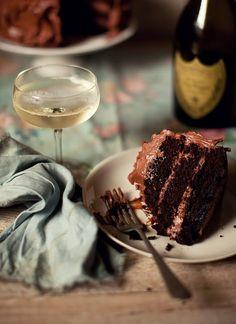 Champagne + chocolate cake