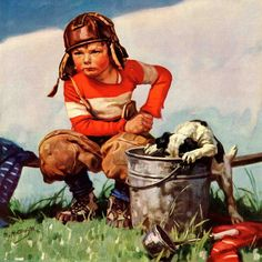 Water Boy and Dog by Henry Hintermeister Painting Print on Canvas