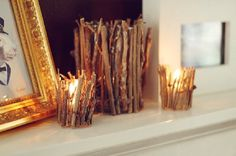 DIY Twig Candle Holder by Spearmint Decor. What a creative way to twigs - homey and rustic. Just perfect! Diy Candle Holders, Candlestick Holders, Votive Candles, Candlesticks, Rustic Candles, Glass Candle, Rustic Candleholders, Clear Glass, Glass Holders