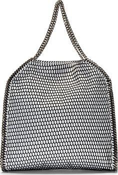 Stella McCartney White Mesh Overlay Falabella Big Tote Bag