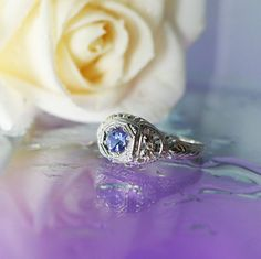 Tanzanite Ring Antique Style Sterling Silver on Etsy, $225.00