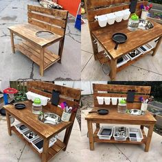 , We never forget to add an idea for the kids, so here is reclaimed wood pallet kids mud kitchen which is not difficult to create and it contains the sp. , Easy Recycling Ideas to Build with Wooden Pallets Outdoor Play Kitchen, Diy Mud Kitchen, Mud Kitchen For Kids, Kitchen Ideas, Kitchen Corner, Backyard Playground, Backyard For Kids, Pallet Furniture, Kitchen Furniture