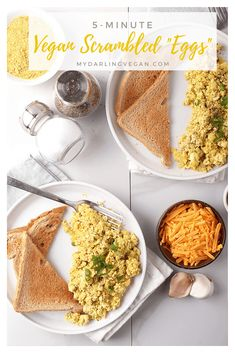 Vegan scrambled eggs at least! These easy vegan scrambled eggs are made with crumbled tofu and flavored with nutritional yeast garlic, and onions for a simple, hearty and healthy breakfast. Easy Egg Recipes, Organic Recipes, Whole Food Recipes, Vegan Recipes, Vegan Foods, Scrambled Eggs Healthy, Vegan Crumble, Mexican Breakfast Recipes, Breakfast Ideas