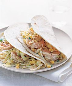 Shrimp Tacos With Citrus Cabbage Slaw|This slaw mix of citrus juices, cabbage, corn, and jalapeno makes for a great taco filling—no need to prepare a ton of extra fixings. Try more great shrimp recipes: